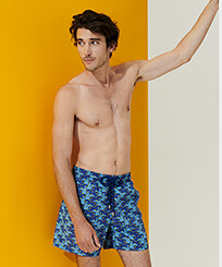 Men Classic Printed - Men Swimwear Cows Puzzle, Batik blue frontworn