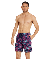 Men Long classic Printed - Men Swimwear Long Coral & Fish, Navy frontworn