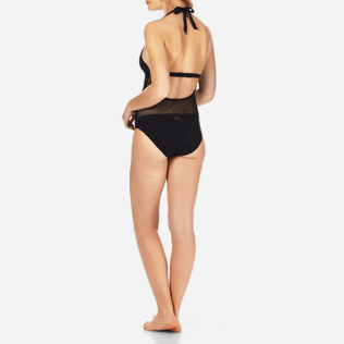 Women One Piece Solid - Women One Piece Swimsuit Solid Net, Black backworn