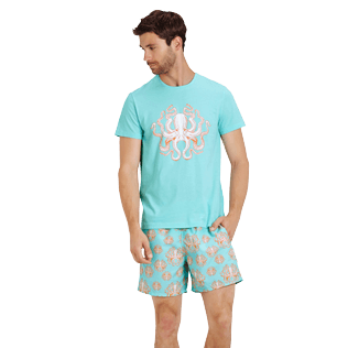 Men Others Printed - Men Cotton T-Shirt Octopussy, Lagoon frontworn