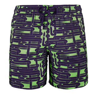 Men Classic / Moorea Printed - Men Lightweight and Packable Swimwear Eels Knitting, Wasabi front