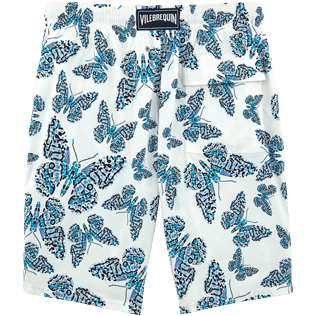 Men Long Printed - Butterflies Superflex long cut Swim shorts, Azure back