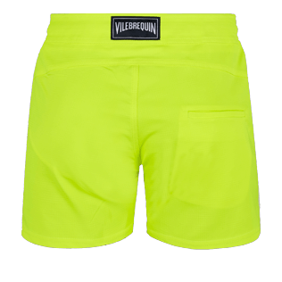 Men Flat belts Solid - Men Swimwear Short Flat Belt Stretch Prince de Galles, Neon yellow back