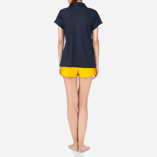 Women Polos Solid - Solid Linen Jersey Polo, Navy backworn