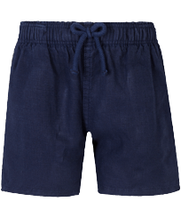 Boys Others Solid - Linen Boys Shorts Bermuda Solid, Navy front
