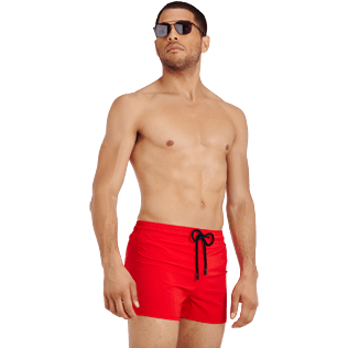 Men Short classic Solid - Men Swimwear Short and Fitted Stretch Solid, Medicis red supp3