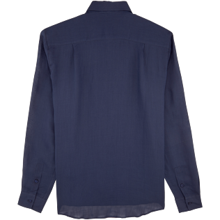 Others Solid - Unisex Linen Voile Shirt Solid, Navy back
