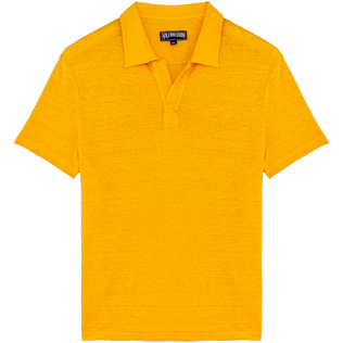 Men Others Solid - Men Linen Jersey Polo Shirt Solid, Mango front