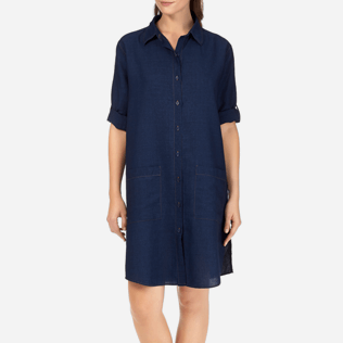 Women Dresses Solid - Indigo Long Linen Shirt, Indigo supp3