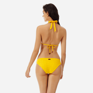 Women Classic brief Solid - Women brief to be tied bikini Bottom Ecailles de Tortue, Mango backworn