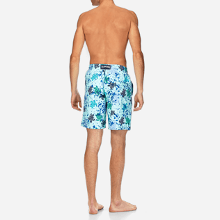 Men Long Printed - Long Cut Swim shorts, Lagoon backworn