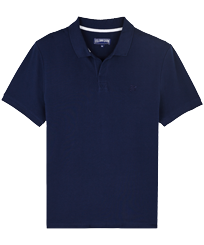 Men Others Solid - Men Cotton Pique Polo Shirt Solid, Navy front