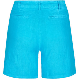 Women Others Solid - Women Linen Bermuda Shorts Solid, Hawaii blue back