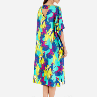 Women Others Printed - Women Twill Silk Dress Birds of Paradise, Veronese green supp2