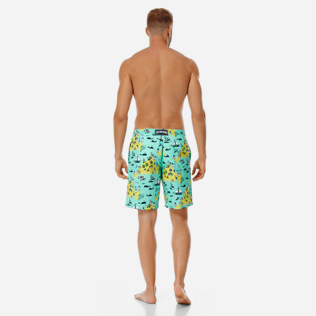 Men Long classic Printed - Men Long Swimwear Martha's Vineyard, Mint backworn