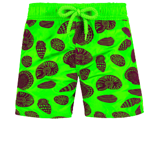 Boys Others Printed - Boys Ultra-light and packable Swim Trunks Shell Game Flocked, Neon green frontworn