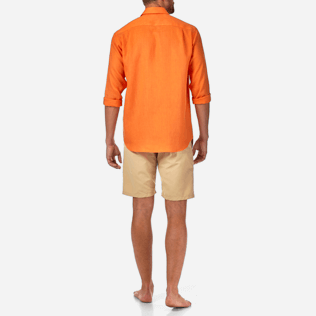 Männer Hemden Uni - Solid-Leinenhemd, Papaya backworn