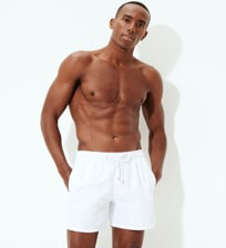 Men Classic Solid - Men Swim Trunks Solid, White frontworn