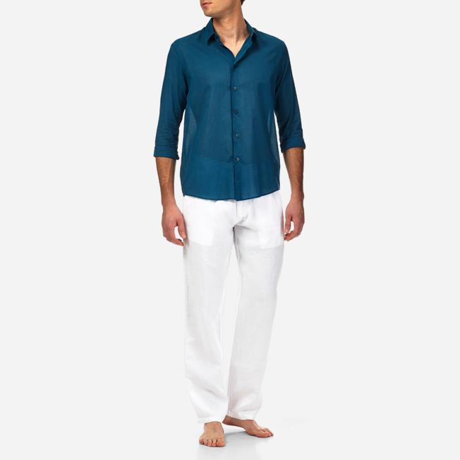 Vilebrequin - Camisa en gasa de algodón con estampado liso unisex - 3