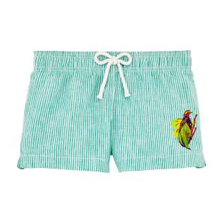 Girls Others Graphic - Girls Linen Shortie Micro Stripes Birds of Paradise Embroidery, Veronese green front