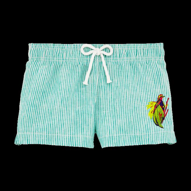 Vilebrequin - Shorty Fille en Lin Micro Rayures Broderie Birds of Paradise - 1