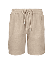 Men Others Solid - Men Linen Bermuda Shorts Solid, Safari front