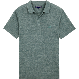 Men Others Solid - Men Linen Jersey Polo Shirt Solid, Heather green blue front