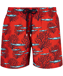 Men Classic Printed - Men Swim Trunks Coral & Fish, Medicis red front