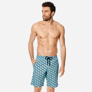 Men Long classic Printed - Men Swimwear Long Stretch Armor Turtles, Acqua frontworn