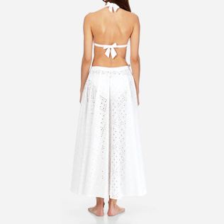 Women 014 Embroidered - Women Long Cotton Pareo Skirt Eyelet Embroidery, White supp2