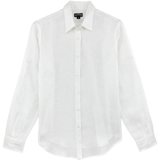Women Shirts Solid - Solid Linen Boyfriend shirt, White front