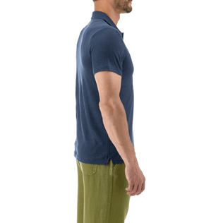 Men Others Solid - Solid Linen jersey polo, Navy supp1