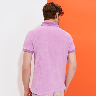 Men Others Solid - Men Terry cloth Polo Shirt Solid, Pink berries backworn