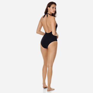 Women One piece Solid - Women shaping one piece swimsuit Solid, Black backworn