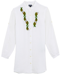 Women Others Embroidered - Women Linen Shirt Dress Sweet Fishes embroidery, White front