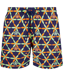 Men Classic Embroidered - Men Swim Trunks Embroidered Indian Ceramic - Limited Edition, Sapphire front