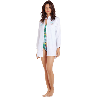 Women Others Embroidered - Women Linen Shirt Dress Jungle, White frontworn