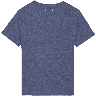 Men Others Solid - Men Linen Jersey T-Shirt Solid, Dark heather blue back