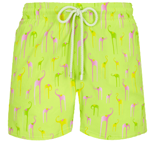 Hombre Corte Largo Estampado - Men Swimwear Stretch Giaco Elephant, Coriander front