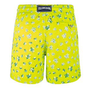 Men Classic / Moorea Embroidered - Men Swimtrunks Embroidered Micro ronde des tortues - Limited Edition, Chartreuse back