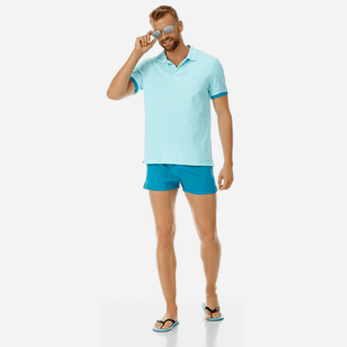 Men Others Solid - Men Cotton Pique Polo Shirt Solid, Aquamarine supp2