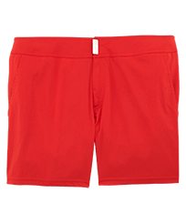 Men Flat belts Solid - Men Flat Belt Stretch Swim Trunks Solid, Poppy red front