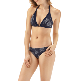 Women Tops Printed - Galuchat Turtle Triangle bikini top, Navy frontworn