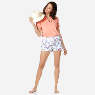 Women Others Embroidered - Women embroidered Swim Short Watercolor Turtles, White supp2