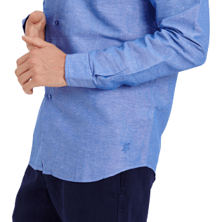 Men Others Solid - Men Cotton Linen Shirt Solid, Neptune blue supp1