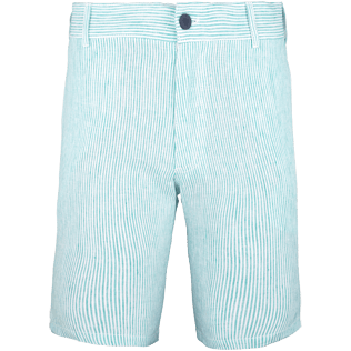 Men Shorts Graphic - Men Straight Linen Bermuda Shorts Micro Stripes, Veronese green front
