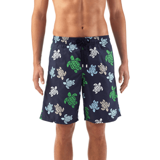 Men Long Printed - Multicolor Turtles Long Cut Swim shorts, Navy supp2