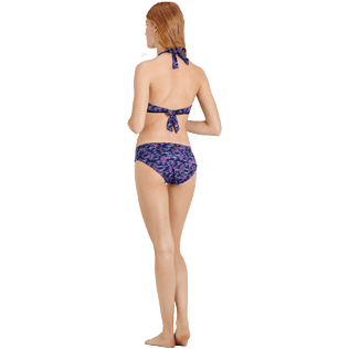 Women Classic brief Printed - Women Covering Brief Bikini Bottom Coral & Fish, Navy backworn