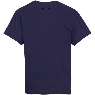 Men Tee-Shirts Solid - Solid V-neck Mercerized cotton T-Shirt, Navy back