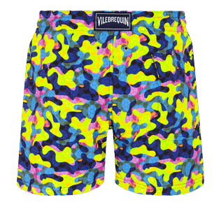 Men Stretch classic Printed - Men Swimwear Stretch Neo camo Turtles, Neon yellow back